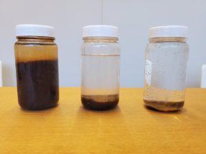 SCOPE工法による洗管中の濁水のサンプル